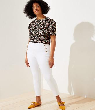 LOFT Plus Sailor High Waist Skinny Crop Jeans in White