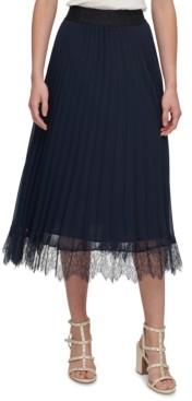 DKNY Pleated Lace-Trim Skirt