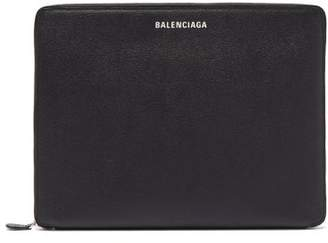 Balenciaga Logo-print Leather Zip-around Pouch - Mens - Black