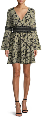 ZAC Zac Posen Mika Floral Mini Dress w/ Smocked Insets