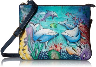 Anuschka Womens Leather Triple Compartment Crossbody   Hand Painted Original Artwork   Dolphin World