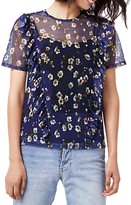 Warehouse Mae Floral Mesh Top, Blue/Multi