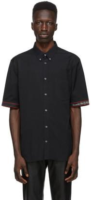 Alexander McQueen Black and Red Poplin Logo Short Sleeve Shirt