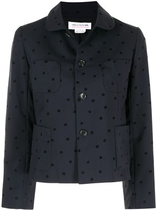 Comme Des Garçons Pre-Owned Floral Embroidered Buttoned Jacket