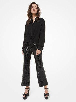 Michael Kors Sequined Double Crepe-Sable Cropped Trousers