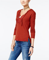 American Rag Crochet-Trim Hooded Sweater, Only at Macy's