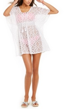 Miken Juniors' Crochet Lace-Up Caftan Cover-Up, Created for Macy's Women's Swimsuit