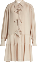 See by Chloe Bow-front crinkled georgette dress