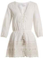 Athena Procopiou - Sunday Morning Lace-up Cotton Playsuit - Womens - Ivory