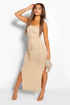 boohoo Petite Bandeau Belted Maxi Dress