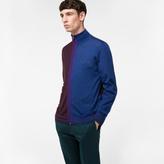 Paul Smith Men's Damson And Indigo Merino-Silk Blend Zip-Through Top