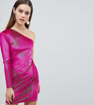Flounce London Petite Glitter Velvet One Shoulder Mini Dress