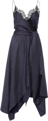 Jonathan Simkhai Emma Lace-Trimmed Striped Twill Wrap Dress