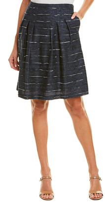 Leggiadro Horizontal Stripe Silk-Lined Linen-Blend Skirt