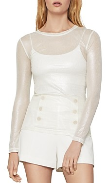BCBGMAXAZRIA Long Sleeve Mesh Top
