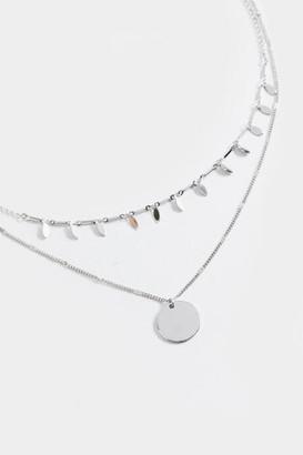 francesca's Miranda Layered Coin Pendant Necklace - Silver