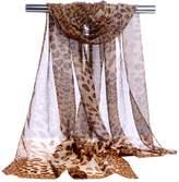 GERINLY Chiffon Scarves Animal Print Neck Wrap Sheer Scarf