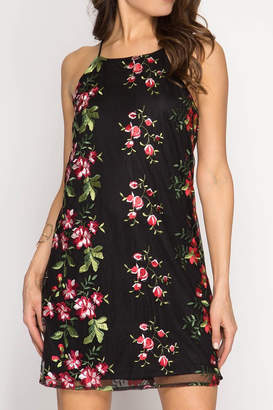 She + Sky Floral Black Dress