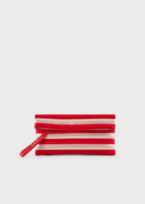 Giorgio Armani Fabric Shoulder Bag With Two-Tone Ribbons