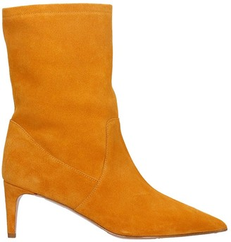 RED Valentino High Heels Ankle Boots In Orange Suede
