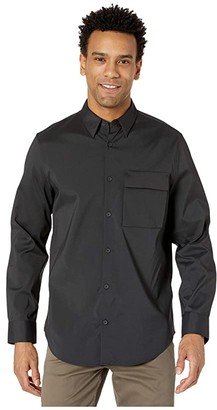 Calvin Klein Long Sleeve Utility Casual Button-Up Shirt (Black) Men's Clothing