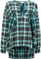 Faith Connexion check open-neck blouse - women - Cotton/Linen/Flax - XS