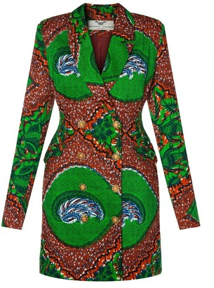 Ohema Ohene Jacqui Red African Print Blazer Blazer Dress