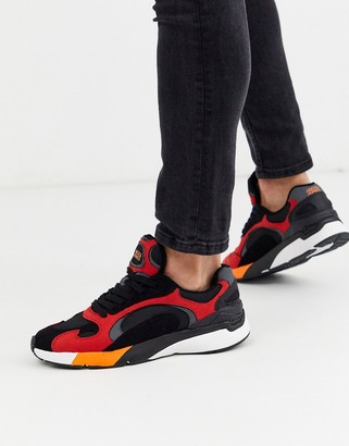 Jack and Jones contrast panel runner trainers in red