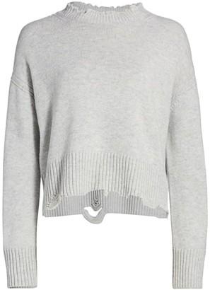 Helmut Lang Distressed Wool & Cashmere Crewneck Knit Sweater