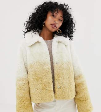 Weekday Short Faux Fur Jacket in Gradient Beige