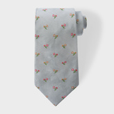 Paul Smith Men's Sky Blue Embroidered Flower Silk Tie