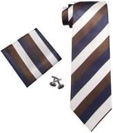 Landisun Stripes Mens Silk Tie Set: Tie+Hanky+Cufflinks