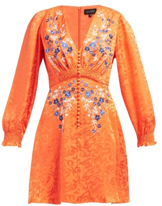 Saloni Eve Floral-jacquard Silk Mini Dress - Womens - Orange Multi