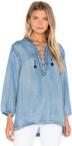 Maison Scotch Drapy Lace Up Top