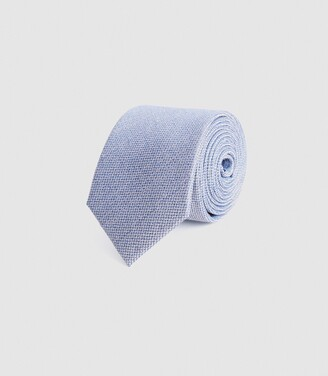 Reiss Ceremony - Textured Silk Tie in Airforce Blue