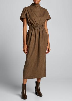 Dries Van Noten Mock-Neck Wool Midi Dress