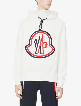Moncler Maglia brand-appliqué cotton-jersey hoody
