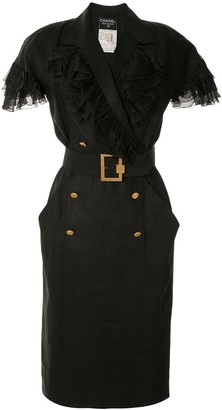 Chanel Pre Owned Ruffled Details Belted Dress