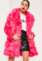 Missguided Hot Pink Bubble Faux Fur Coat