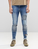 Asos Super Skinny Jeans With Biker Styling In Blue