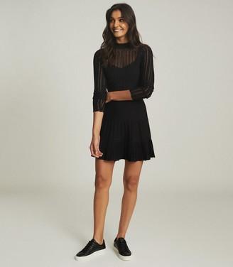 Reiss CLEMMY SHEER STRIPE KNITTED DRESS Black