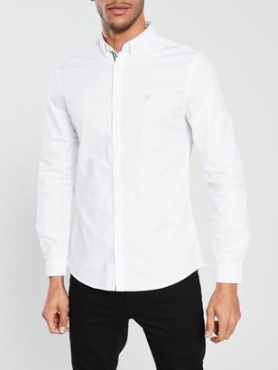River Island White Oxford Stretch Long Sleeve Shirt