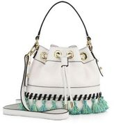 Milly Whipstitch Tassel Small Leather Drawstring Bag