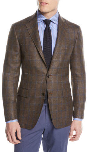 Canali Windowpane Wool-Blend Two-Button Jacket