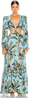 PatBO Tropical Print Cutout Maxi Dress in Cerulean   FWRD