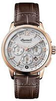 Ingersoll Men's The Regent Quartz Watch with Silver Dial and Brown Leather Strap I00101