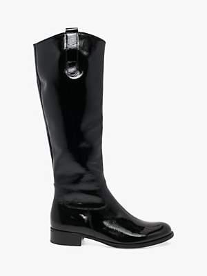 Gabor Brook Patent Leather Slim Calf Boots, Black