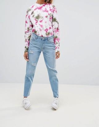 Chorus Frayed Hem Mom Jeans