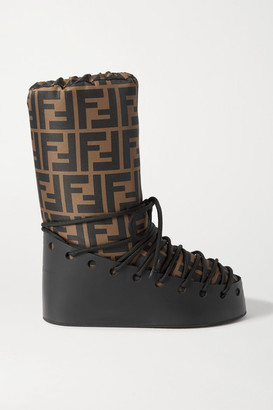 Fendi Printed Shell And Leather Snow Boots - Brown