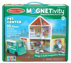 Melissa & Doug Melissa Doug 95-Piece Magnetivity Magnetic Building Play Set - Pet Center with Rescue Vehicle 13 Panels, 74 Accessory Magnets
